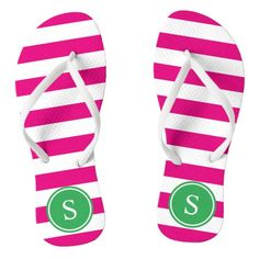 Shop Striped Monogram in Pink & Green Flip Flops created by FINEandDANDY. Gifts For Girls, Gifts For Her, Personalized Flip Flops, Personalized Gifts, Creative Shoes, Womens Flip Flops, Beachwear For Women, Flip Flop Sandals, Shopping