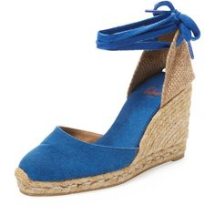 Castaner Women's Carina Espadrille Wedge - Bright Blue, Size 36 ($75) ❤ liked on Polyvore featuring shoes, sandals, bright blue, high heel wedge sandals, espadrille sandals, platform espadrille sandals, platform wedge sandals and platform sandals