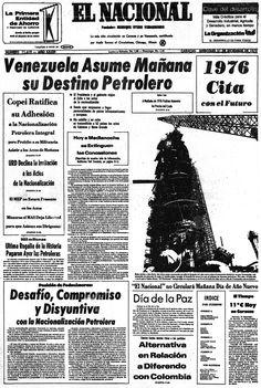 Nacionalización de la industria petrolera. Publicado el 31 de diciembre de 1975.