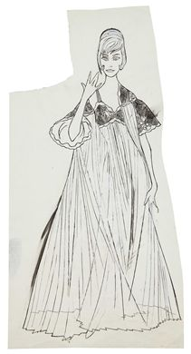 ANDY WARHOL (1928-1987)  Female Fashion Figure  ink and graphite on paper  19½ x 10 in. (49.5 x 25.4 cm.)  Drawn circa 1960.