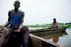 Uganda.  Took a boat ride like these on the nile.
