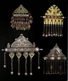 "Amulet holders / pendants included in the publication, ""Aus Steppe und Oase. Bilder turkestanischer Kulturen."" by Johannes Kalter; pg 128 
