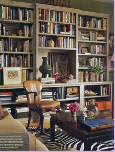 ...i would definitely decorate with bookshelves in my living room, my dining room, ...pretty much every room...