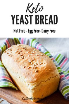 Beginners Bread Recipe, Easy Keto Bread Recipe, Sandwich Bread Recipes, Healthy Bread Recipes, Best Keto Bread, Yeast Bread Recipes, Lowest Carb Bread Recipe, Low Carb Recipes, Vegan Recipes