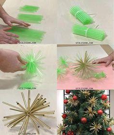 Artesanato e Reciclagem Lado a Lado: Tudo para o Natal com Reciclagem da Net canudos de refrigerantes