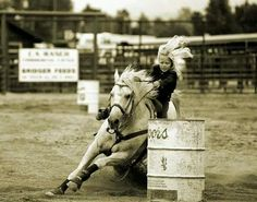 Barrel racing, see anyone can do it! Amiah is in awe looking at this pic right now lol