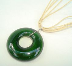 Wine Bottle Necklace repurposed by Garden by GardenDaisiesStudio, $18.00 The bead is handmade from the top of a wine bottle :)