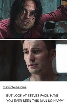 I dunno, id say bittersweet happiness. Because Bucky remembering is just a reminder of what was stolen from him in the first place.