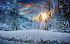 Download wallpapers 4k, winter, frozen lake, forest, sunset, snowdrifts