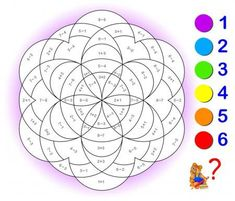 Educational page with exercises for children on addition and subtraction. Need to solve examples and to paint the image in relevant colors. Developing skills for counting. Free Multiplication Worksheets, Math Coloring Worksheets, Preschool Worksheets, Post Reading Activities, Preschool Activities, Math Anchor Charts, Sight Word Games, Diy Projects For Beginners, Math For Kids