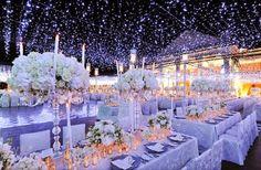 elegant winter wedding decoration with snow-like lighting