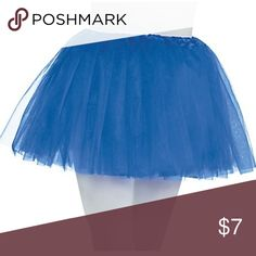 Blue Tutu - One size - About 12 inches long - Bought from Party City a few months ago and never used - Royal Blue - Elastic waist  - 100% polyester Party City Costumes Dance