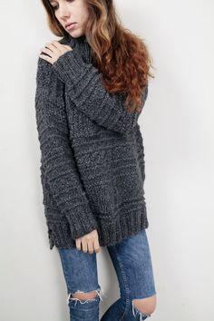 Hand knit oversized sweater wool woman sweater long sweater