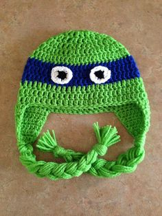 TMNT Teenage Mutant Ninja Turtles Crochet Hat Newborn Infant Baby Toddler Child Teen Adult Any Color with Ear Flaps halloween costume
