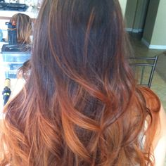 Copper Red ombré hair
