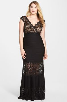 Pintuck & Lace Empire Gown (Plus Size)