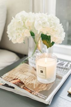 Shake Up Your Morning Routine - Harlowe James Coffee Table Styling, Decorating Coffee Tables, Casa Hygge, Scented Candles, Candle Jars, Partylite, Living Room Decor, Bedroom Decor, Photo Candles