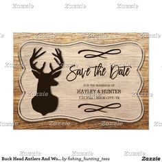 Buck Head Antlers And Wood Rustic Save The Date