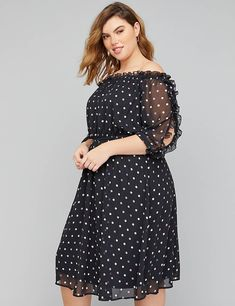 034dcdfce4b Lane Bryant Chiffon Off-the-Shoulder Fit   Flare Dress