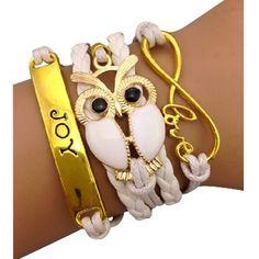 White Owl and Joy Arm Party Bracelet