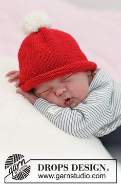 Dagens gratisoppskrift: Itsy Bitsy Santa | Strikkeoppskrift.com Baby Knitting Patterns, Free Knitting, Crochet Patterns, Christmas Hat, Christmas Knitting, Drops Design, Crochet Baby, Knit Crochet, Drops Baby