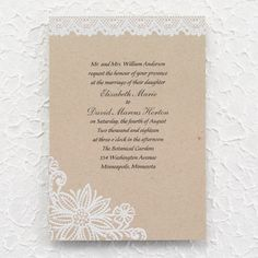 Lacy Blooms Invitation - Wedding Invitations - Wedding Invites - Wedding Invitation Ideas - View a Proof Online - #weddings #wedding #invitations