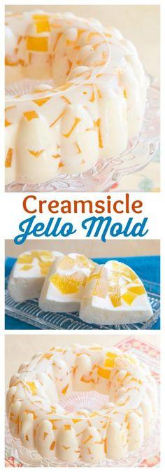 """Creamsicle Jello Mold – cubes of fresh orange jello """"floating"""" in vanilla ice cream gelatin for a fresh and creamy, fun retro dessert! Jello Desserts, No Bake Desserts, Just Desserts, Delicious Desserts, Yummy Food, Jello Cake, Gelatin Recipes, Jello Recipes, Baking Recipes"""