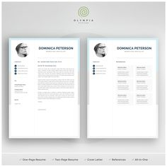 Use a professionally designed resume template pack to present you resume, cover letter and references in a consistent and effective way. One Page Resume Template, Modern Resume Template, Creative Resume Templates, Cv Template, Cover Letter For Resume, Cover Letter Template, Olympia, Resume References, Administrative Assistant Resume