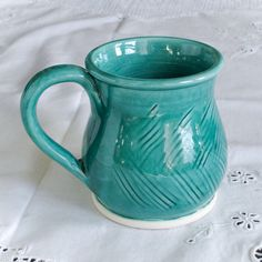 Handmade Aqua Green Ceramic Coffee Mug, Pottery Tea Cup Carved Stoneware Modern Home Decor Rustic Kitchen Serving gift for mom Made to order by blueroompottery on Etsy https://www.etsy.com/listing/38670090/handmade-aqua-green-ceramic-coffee-mug