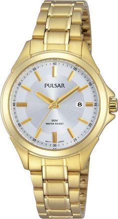 Pulsar Dameshorloge PH7372X1. Een in goudkleur uitgevoerd horloge met een witte wijzerplaat. Een klassiek en dus al jarenlang een topmodel van Pulsar. 50 Meter waterdicht, u mag er mee douchen.
