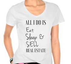 Let everyone know you're a realtor with this super cute fitted v neck black tee shirt. This can be worn casual or dressed up with a blazer. Let the leads come to you when you where this shirt out and about running errands!