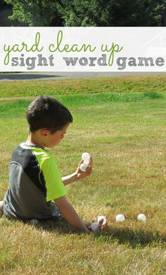 Sight word gross motor game for kids. Get everyone outside and clean up the yard while learning sight words. Kids Sight Words, Learning Sight Words, Sight Word Games, Sight Word Activities, Literacy Activities, Card Games For Kids, Outdoor Games For Kids, Outdoor Play, Teaching Reading