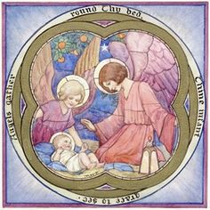 'Angels gather round Thy bed' - Jesus with 2 Angels (stained glass window design). Angels look afte the baby Jesus. Christmas card.