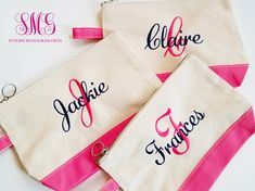 Our Monogram Cosmetic Bag will help you keep all your makeup organized. This cosmetic bag is made out of a sturdy canvas and comes in lots of different colors. Perfect for Bridesmaid Gifts! *Matching Weekender Bags can be found here: Personalized Makeup Bags, Personalized Bridesmaid Gifts, Bridesmaid Makeup Bag, Bridesmaids, Makeup Ads, Wedding Makeup Tips, Monogrammed Purses, Embroidered Gifts, Makeup Designs