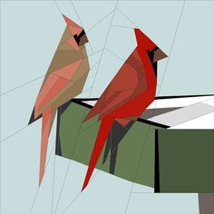 Name: 'Quilting : Cardinal Pair Paper Pieced Quilt Patterns, Quilt Block Patterns, Applique Quilts, Christmas Tree Quilt Pattern, Bird Quilt Blocks, Barbie Vintage, Paper Quilt, Animal Quilts, Foundation Paper Piecing