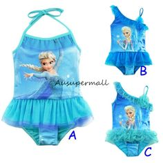 5ae10f2d96 Girls Frozen Elsa 1PC Swimwear Blue Swimsuit Bathing Suit Ruffle Tutu Skirt  #unbranded #OnePieceSwimsuit