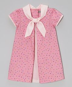 Pink Polka Dot Inverted Pleat Dress - Infant & Toddler by Les Petits Soleils by Fantaisie Kids #zulily #zulilyfinds