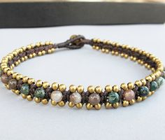 Moss Agate Square Knot Anklet