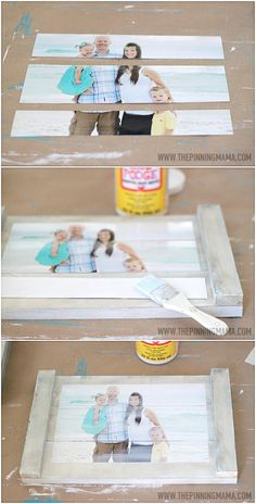 Quick & Easy DIY Planked Picture Frame WHAT YOU NEED FOR THIS PROJECT: 810 Photo I ordered from Shutterfly 3 boards cut to in length 2 boards cut to the total width of your 3 boards (approx in length Paint or stain Liquid nails Matte Modge Podge Scissors Pallet Crafts, Pallet Art, Wood Crafts, Fun Crafts, Diy And Crafts, Pallet Wood, Barn Wood, Diy Projects To Try, Craft Projects