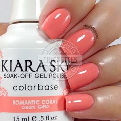 Kiara Sky Romantic Coral swatch by Chi peach nail Coral Gel Nails, Coral Nail Polish, Sky Nails, Peach Nails, Gel Polish Colors, Shellac Nails, Remove Shellac, Gel Manicures, Matte Nails