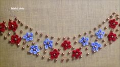 Hand Embroidery Tutorial: Neckline Design/Ring Knot Stitch - YouTube French Knot Embroidery, Hand Embroidery Videos, Embroidery Stitches Tutorial, Hand Embroidery Flowers, Hand Work Embroidery, Beaded Embroidery, Hand Embroidery Design Patterns, Kurti Embroidery Design, Flower Embroidery Designs