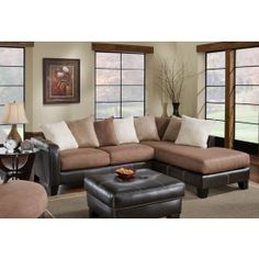 Chelsea Home Burke 2 pc Sectional Sofa with Chaise Right or Left Side Facing