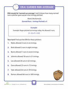 Worksheets: Calculating ERA in Baseball