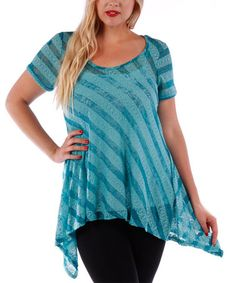 Look what I found on #zulily! Teal Sheer Lace Stripe Sidetail Top - Plus #zulilyfinds