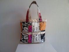Boodschappentassen - boodschappentas, recycling plastic met katoen - Een uniek product van Textile-meeting-point op DaWanda