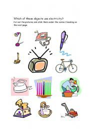 Things that Use Electricity | Kindergarten science and Worksheets