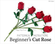 Easy Crochet Rose PATTERN Crochet Flower por HappyPattyCrochet