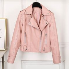 Women Fashion Long Sleeve Zipper Leather Jackets Removable Hooded Coat Ladies Plus Size Cool Motorcycle Coat Outwear Leather Jacket Outfits, Faux Leather Jackets, Soft Leather, Coats For Women, Jackets For Women, Clothes For Women, Cute Jackets, Pink Jacket, Street Wear