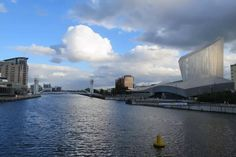 The Imperial War Museum North  as seen from the Manchester Ship Canal.