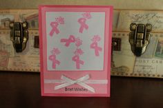 """Breast cancer pink ribbon """"best wishes"""" handmade greeting card by AnLieDesigns, $2.00"""